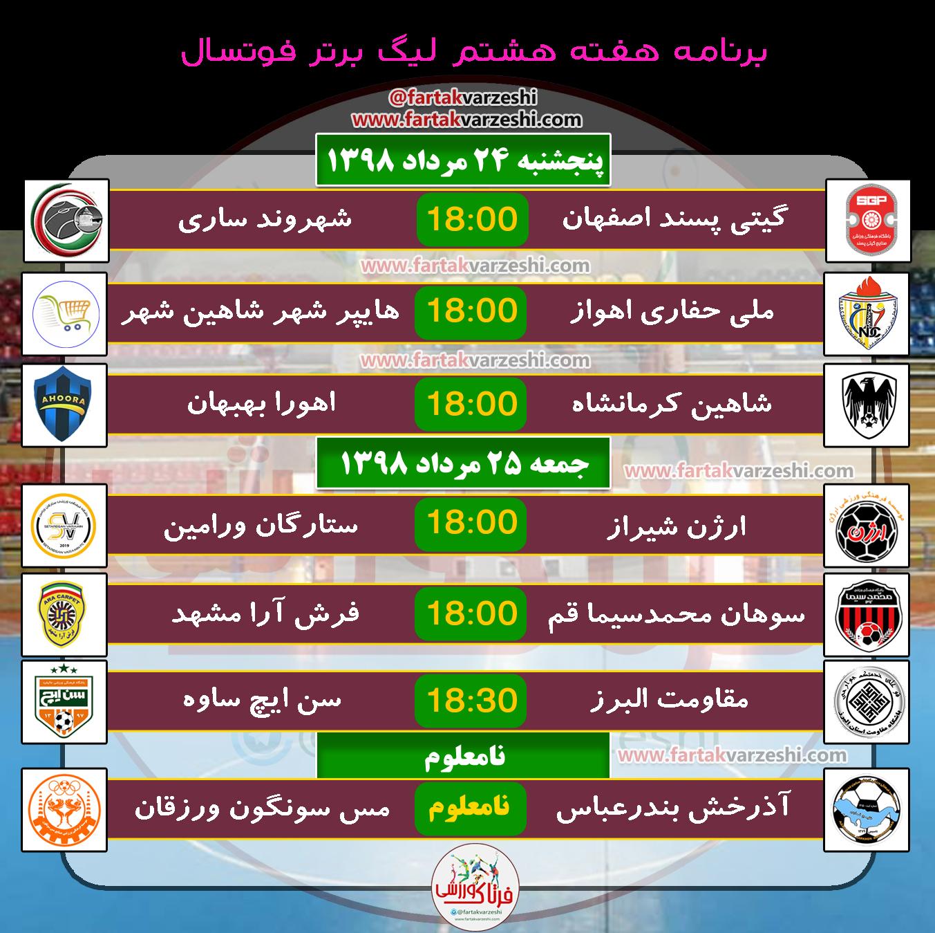 برنامه هفته ای لیگ برتر فوتسال