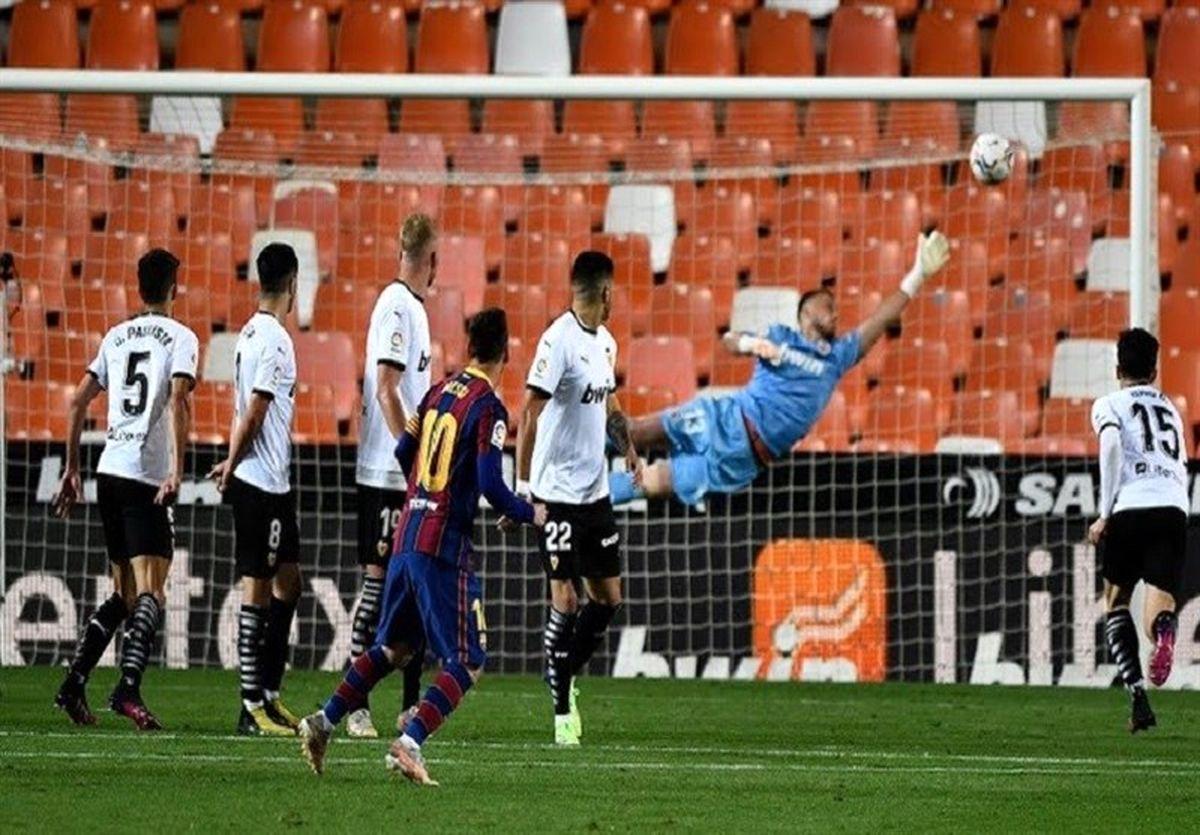 بارسا در شب درخشش لیونل مسی هم چنان در کورس قهرمانی باقی ماند